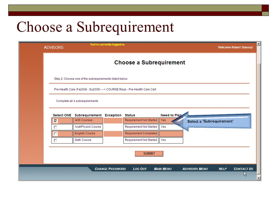 Choose a Subrequirement