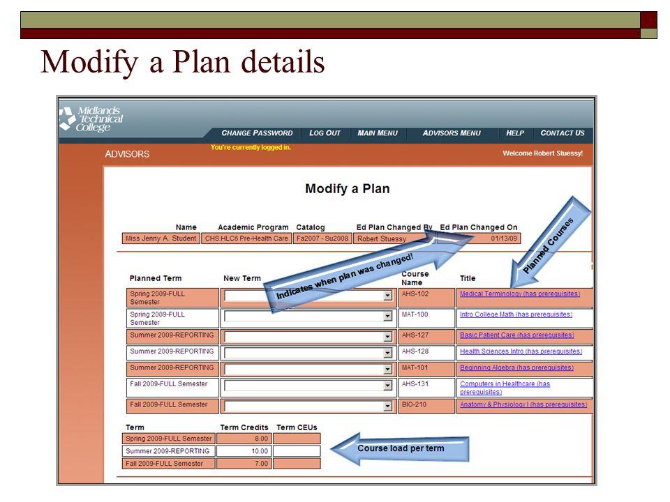 Modify a Plan details