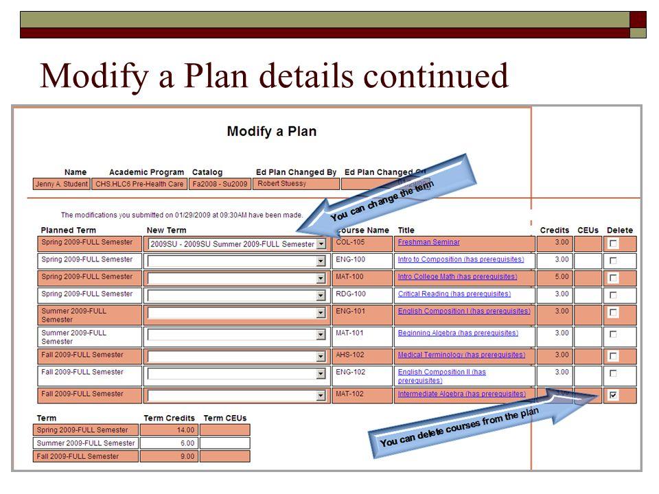 Modify a Plan details continued