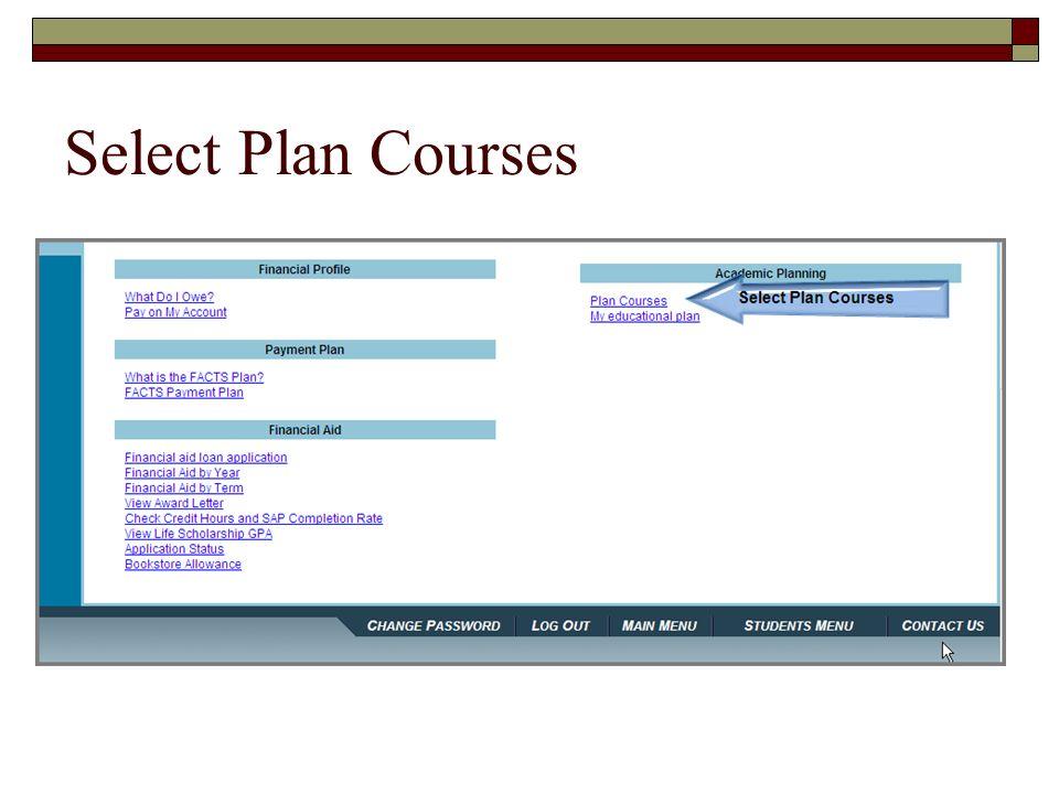Select Plan Courses