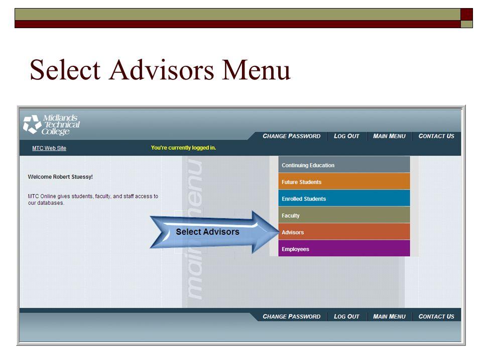 Select Advisors Menu