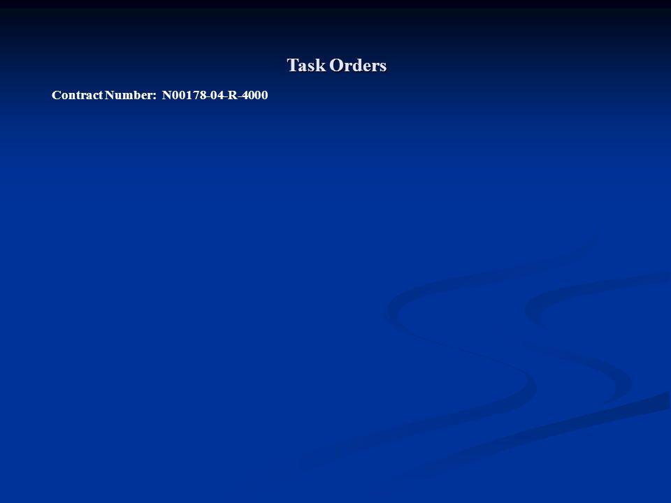 Task Orders Contract Number: N00178-04-R-4000