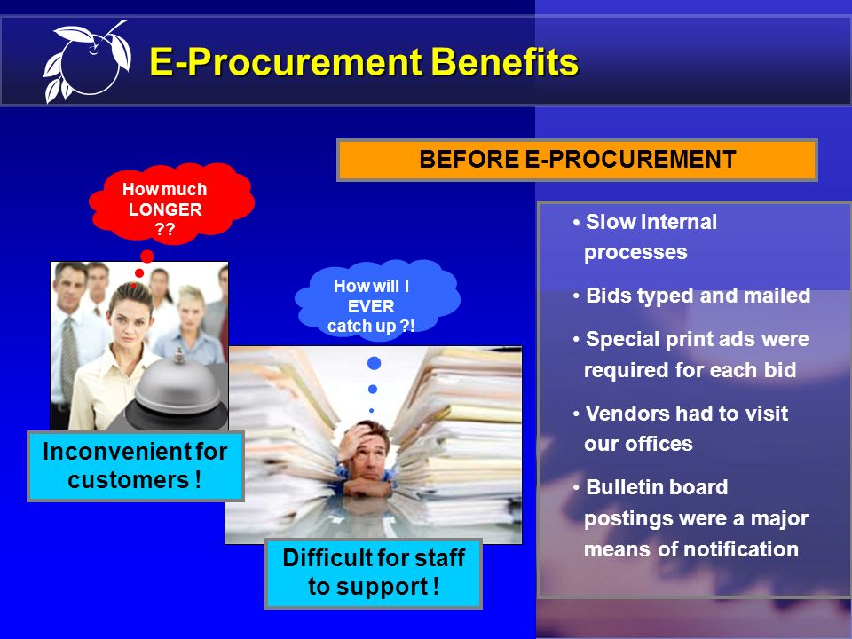9 E-Procurement Benefits 39,000+ registered vendors 500+ M/WBE firms 7,000+ pages of M/WBE vendor listings printed each month Information was not up-t