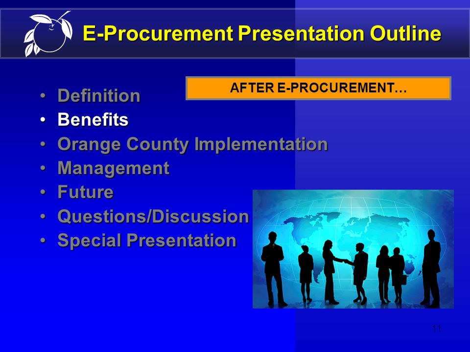 10 E-Procurement Benefits Slow internal processes Bids typed and mailed Special print ads were required for each bid Vendors had to visit our offices
