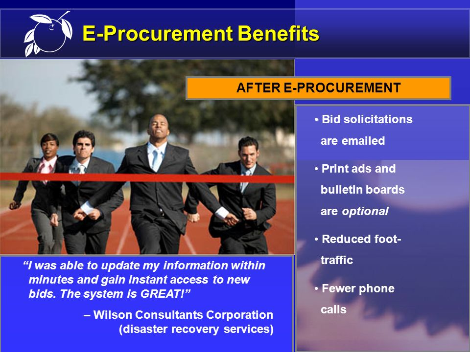 12 E-Procurement Benefits Faster internal processes Reduction in phone calls Vendors needed to visit our offices less often Less paperwork AFTER E-PRO