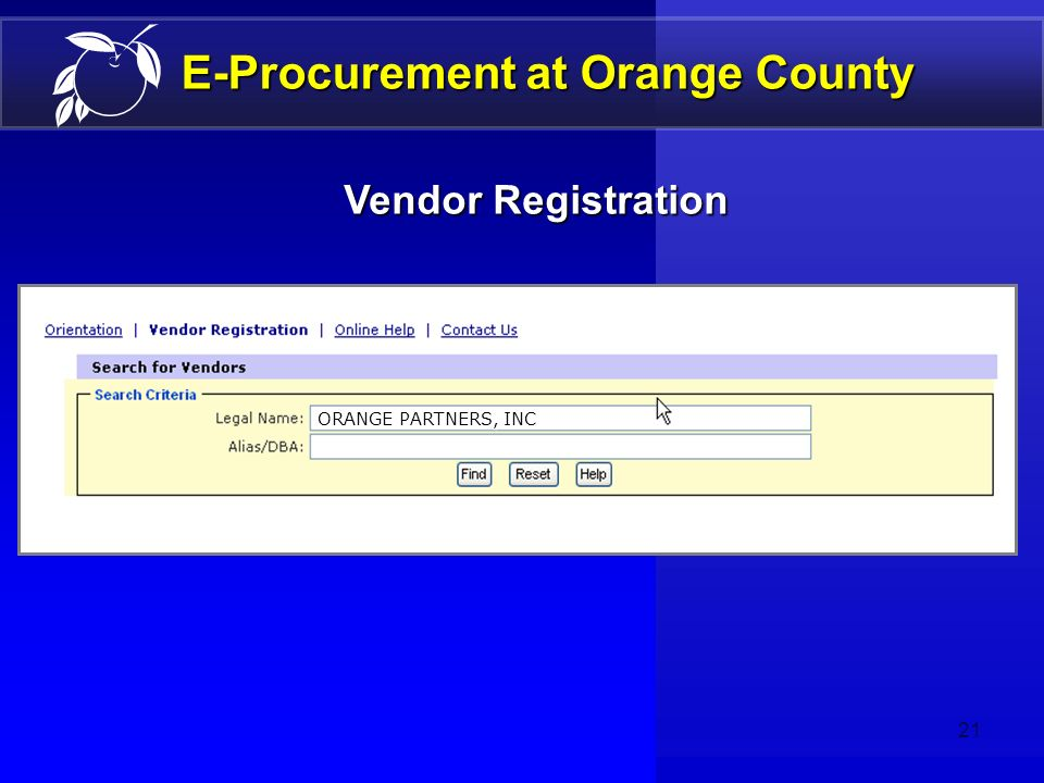 20 E-Procurement at Orange County Volume of Work