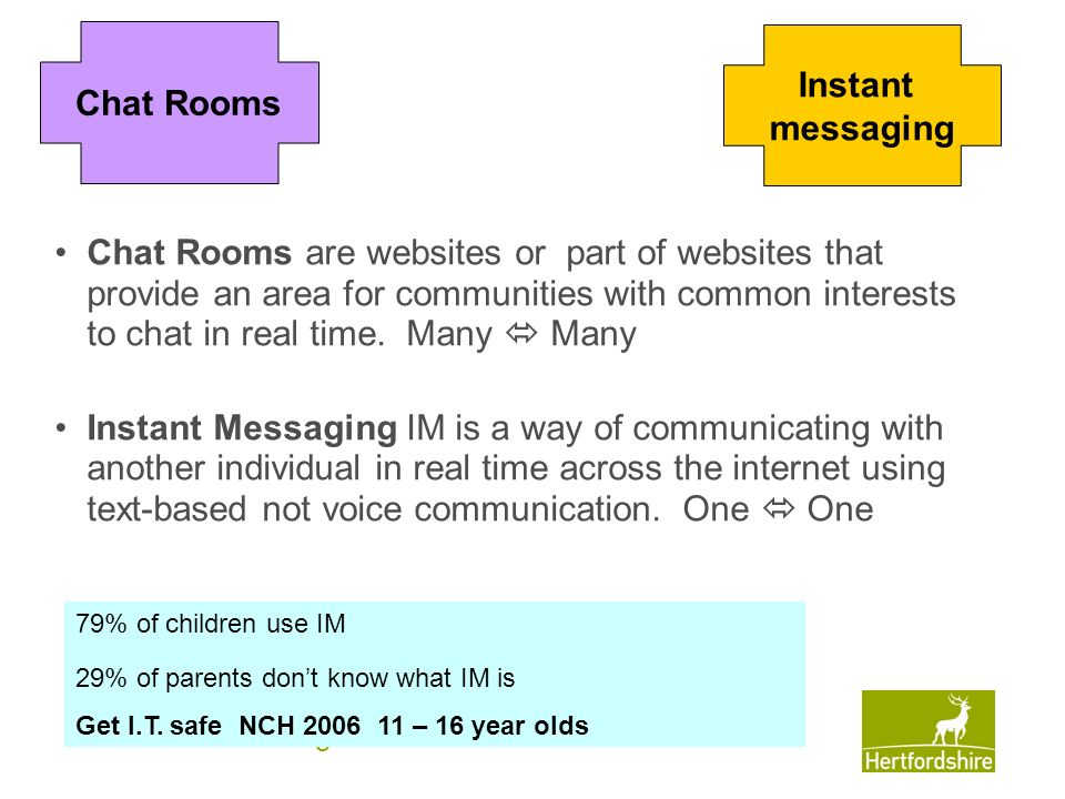 www.hertsdirect.org Chat Rooms are websites or part of websites that provide an area for communities with common interests to chat in real time. Many