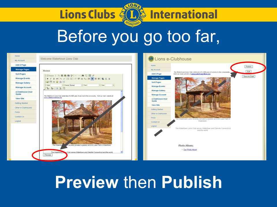Before you go too far, Preview then Publish