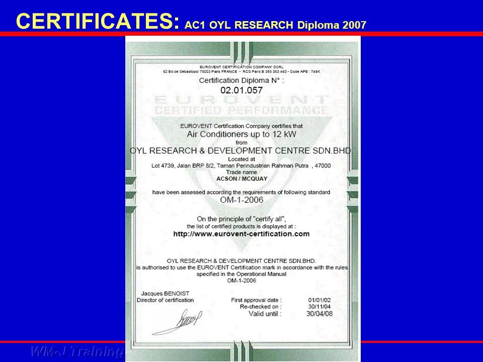 CERTIFICATES: AC1 OYL RESEARCH Diploma 2007