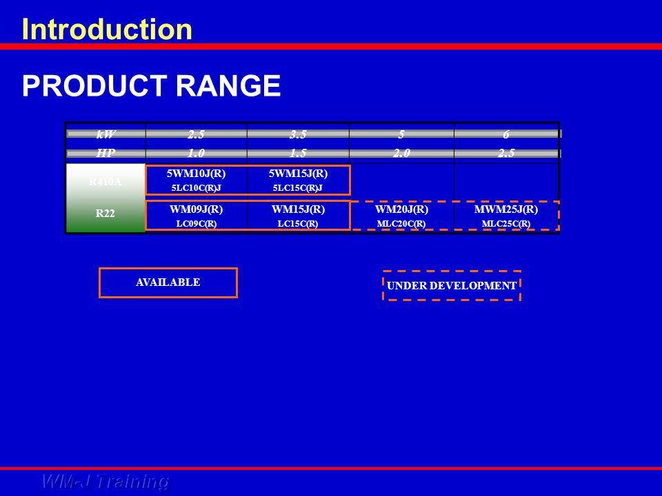 PRODUCT RANGE kW HP 2.5 1.0 3.5 1.5 5 2.0 6 2.5 R410A R22 5WM10J(R) 5LC10C(R)J WM09J(R) LC09C(R) 5WM15J(R) 5LC15C(R)J WM15J(R) LC15C(R) WM20J(R) MLC20