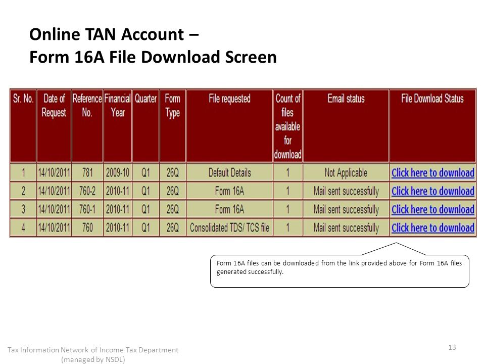 Online TAN Account – Form 16A File Download Screen 13 Tax Information Network of Income Tax Department (managed by NSDL) Form 16A files can be downloaded from the link provided above for Form 16A files generated successfully.