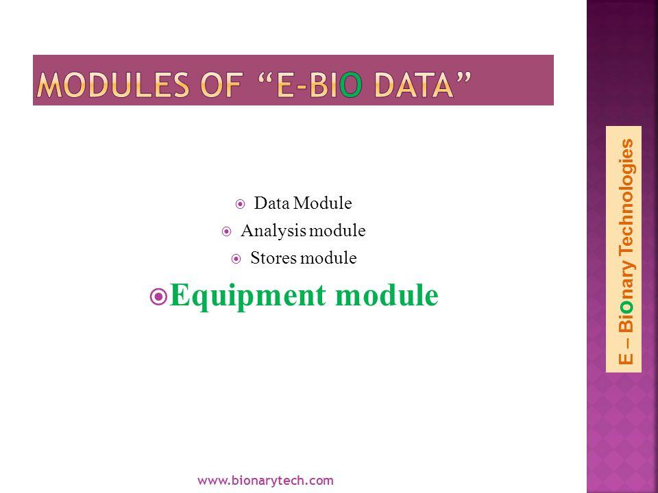 Data Module Analysis module Stores module Equipment module www.bionarytech.com E – Bi o nary Technologies