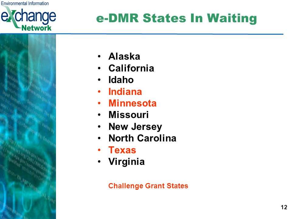 12 e-DMR States In Waiting Alaska California Idaho Indiana Minnesota Missouri New Jersey North Carolina Texas Virginia Challenge Grant States