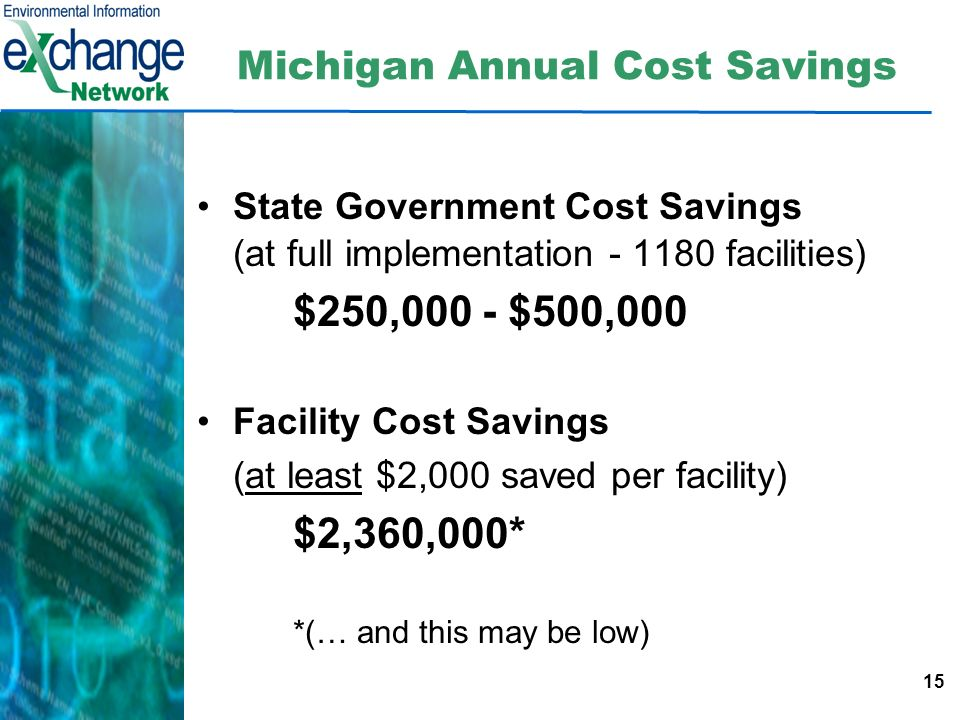 15 Michigan Annual Cost Savings State Government Cost Savings (at full implementation - 1180 facilities) $250,000 - $500,000 Facility Cost Savings (at least $2,000 saved per facility) $2,360,000* *(… and this may be low)