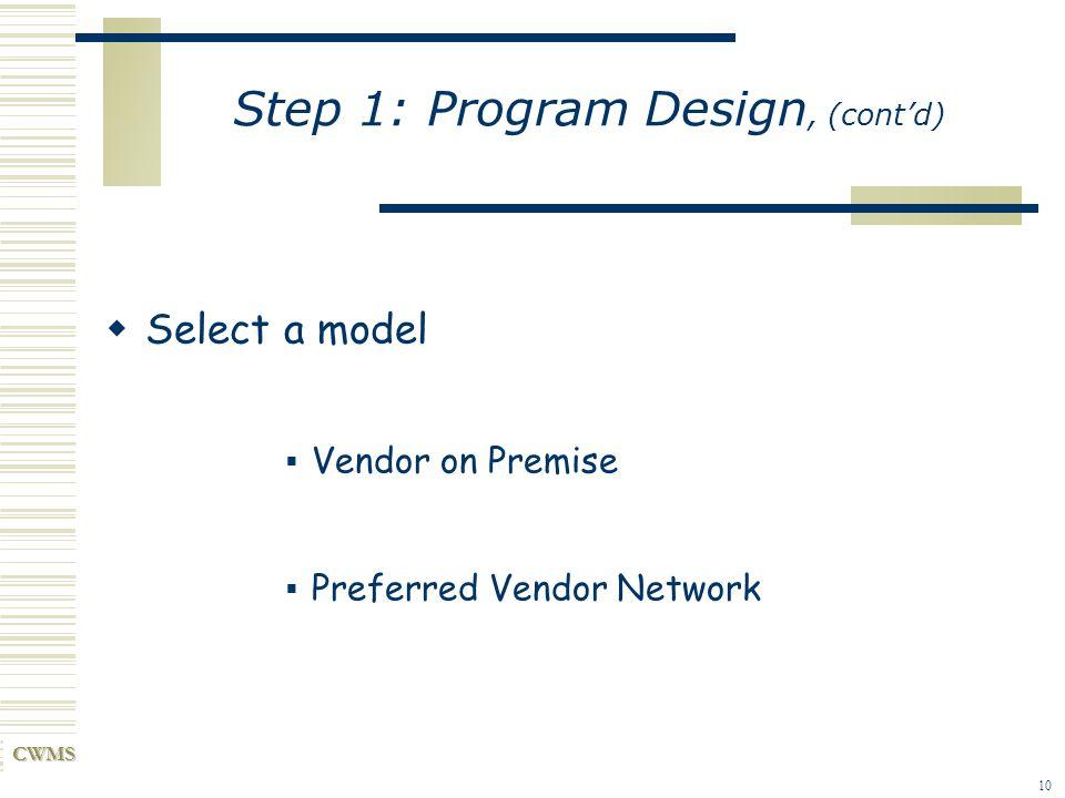 CWMS 10 Step 1: Program Design, (contd) Select a model Vendor on Premise Preferred Vendor Network