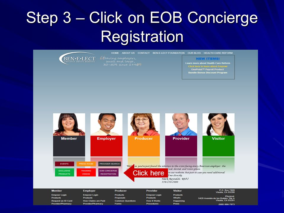 Step 3 – Click on EOB Concierge Registration Click here