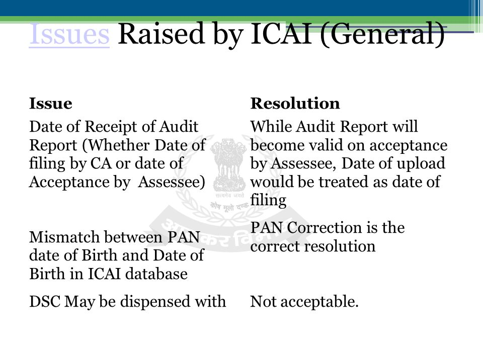 IssuesIssues Raised by ICAI (General) Issue Date of Receipt of Audit Report (Whether Date of filing by CA or date of Acceptance by Assessee) Mismatch between PAN date of Birth and Date of Birth in ICAI database DSC May be dispensed with Resolution While Audit Report will become valid on acceptance by Assessee, Date of upload would be treated as date of filing PAN Correction is the correct resolution Not acceptable.