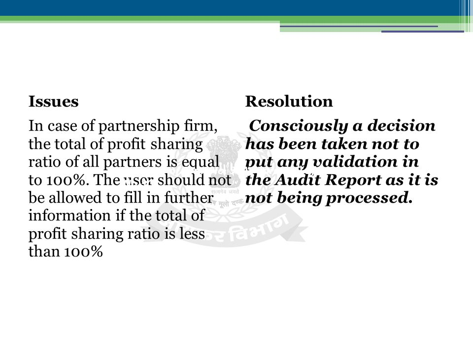 Issues In case of partnership firm, the total of profit sharing ratio of all partners is equal to 100%.