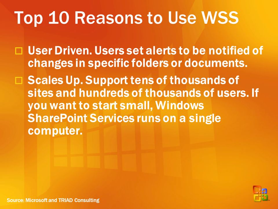 Top 10 Reasons to Use WSS User Driven.