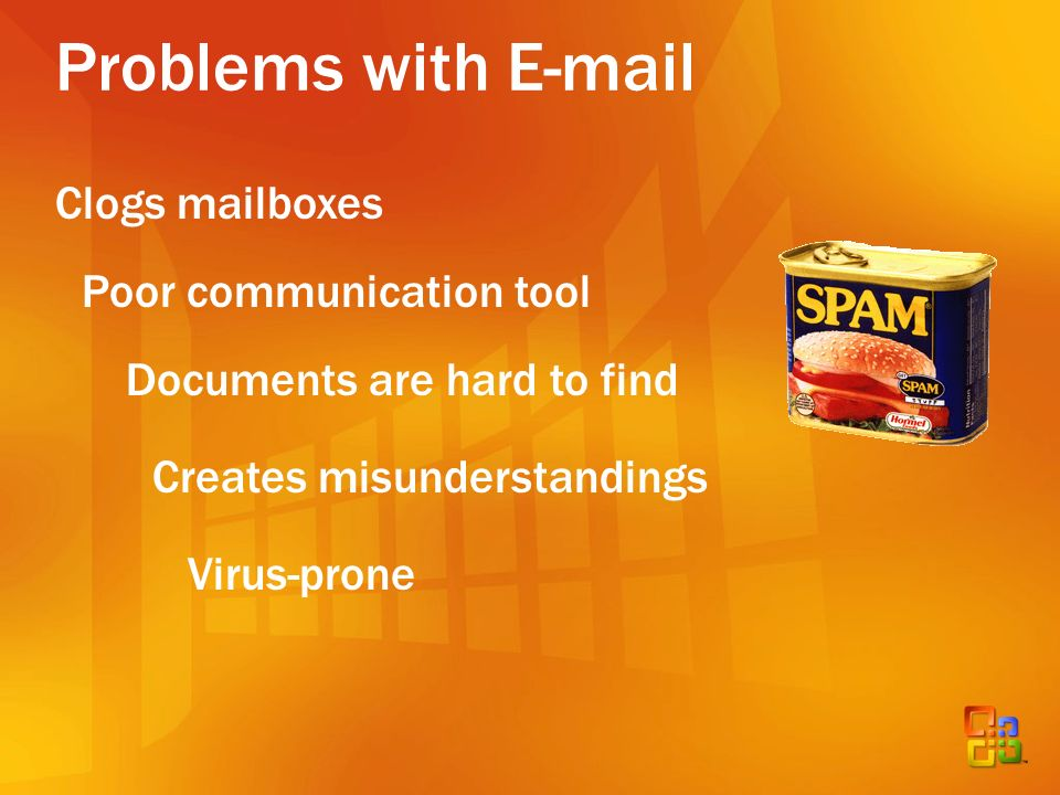 Problems with E-mail Clogs mailboxes Documents are hard to find Poor communication tool Creates misunderstandings Virus-prone