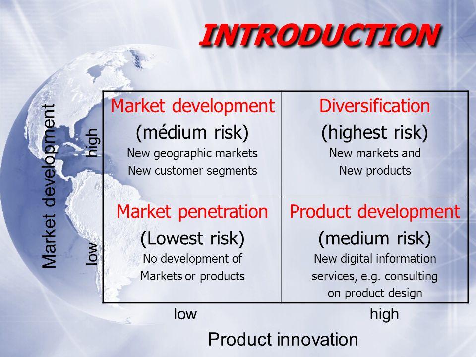 Market development (médium risk) New geographic markets New customer segments Diversification (highest risk) New markets and New products Market penetration (Lowest risk) No development of Markets or products Product development (medium risk) New digital information services, e.g.