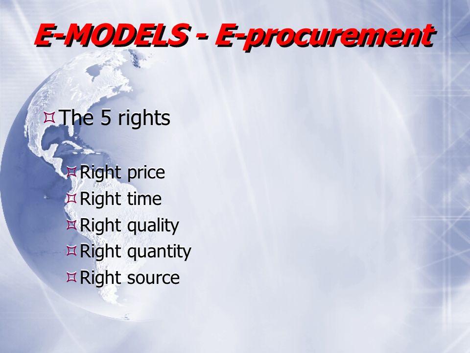 E-MODELS - E-procurement The 5 rights Right price Right time Right quality Right quantity Right source The 5 rights Right price Right time Right quality Right quantity Right source