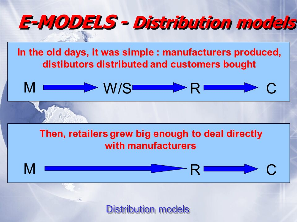 E-MODELS - Distribution models Distribution models In the old days, it was simple : manufacturers produced, distibutors distributed and customers bought M W/SRC Then, retailers grew big enough to deal directly with manufacturers M RC