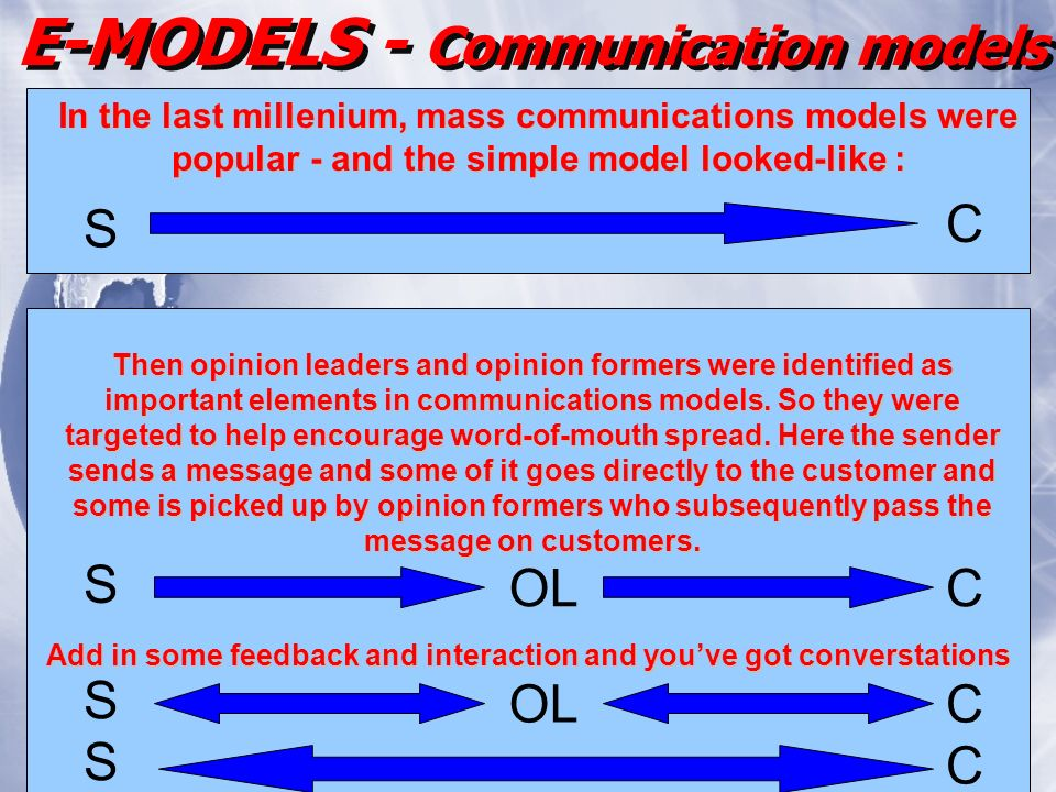 In the last millenium, mass communications models were popular - and the simple model looked-like : S C Then opinion leaders and opinion formers were identified as important elements in communications models.