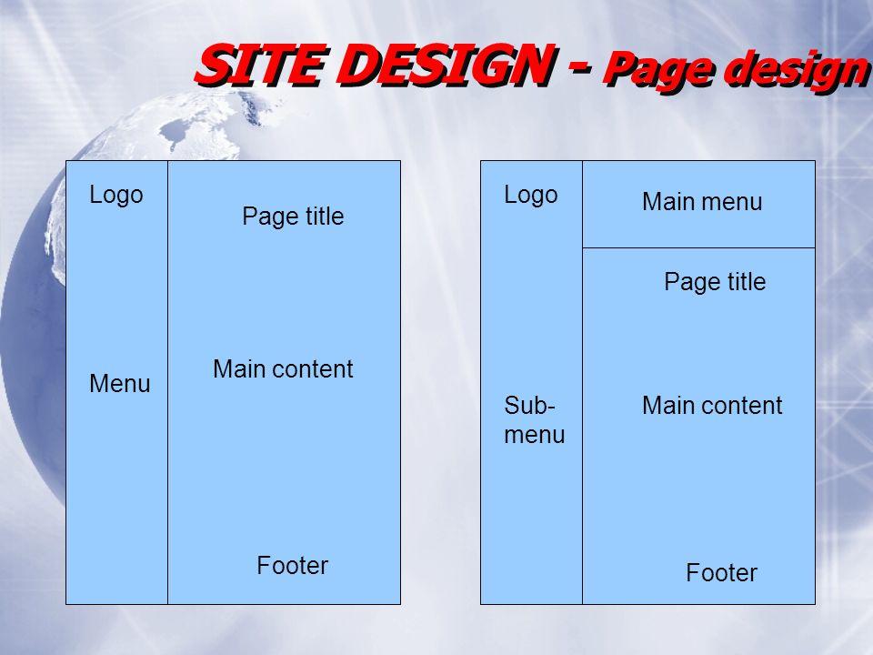 SITE DESIGN - Page design Page title Main content Footer Logo Menu Main menu Sub- menu