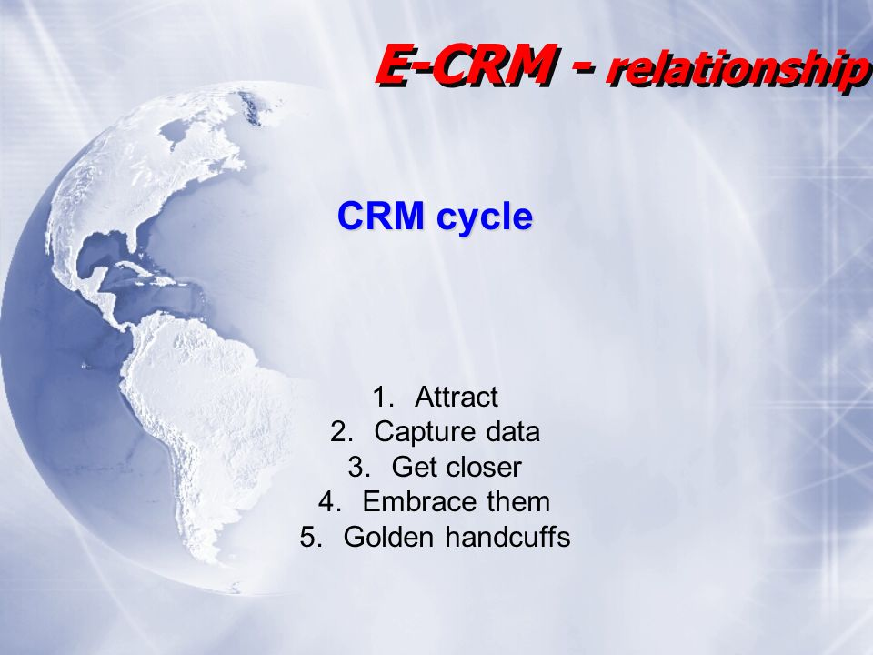 CRM cycle 1.Attract 2.Capture data 3.Get closer 4.Embrace them 5.Golden handcuffs E-CRM - relationship