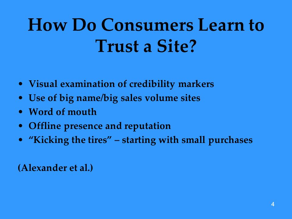 4 How Do Consumers Learn to Trust a Site.