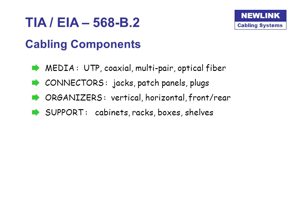 Cabling Systems NEWLINK TIA / EIA – 568-B.1 Equipment Room Must contain the main HUB Could contain the MCC and share functions of Telecommunications R