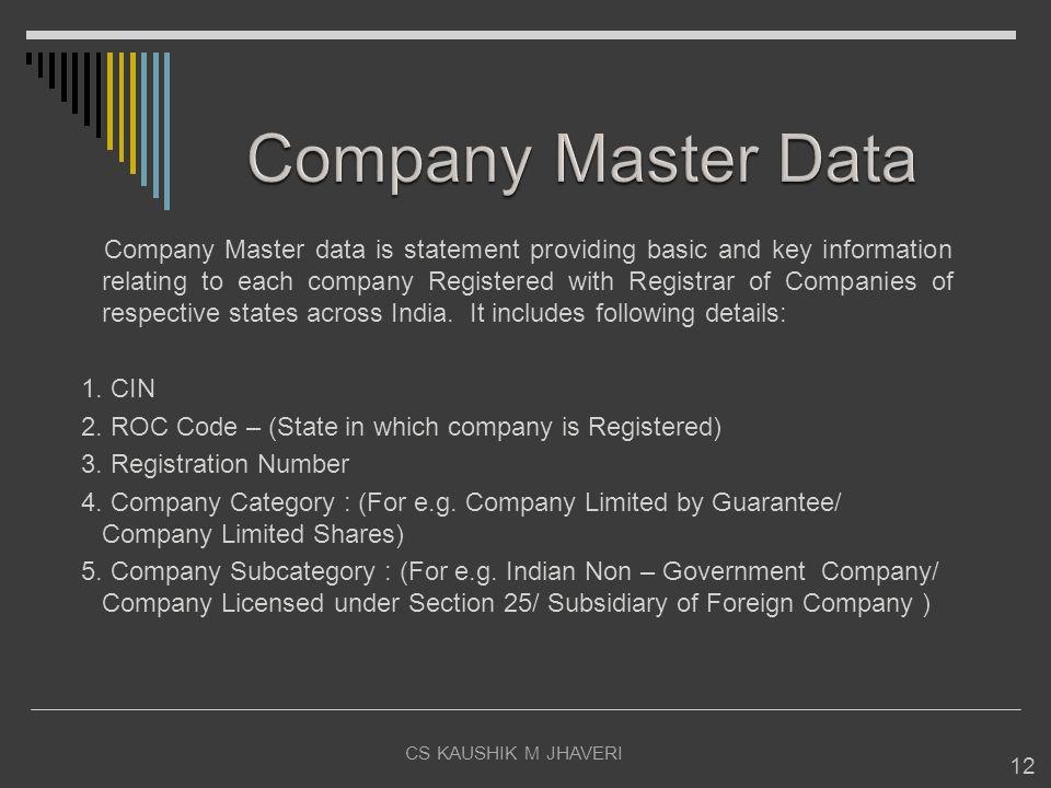 CS KAUSHIK M JHAVERI 12 Company Master data is statement providing basic and key information relating to each company Registered with Registrar of Com