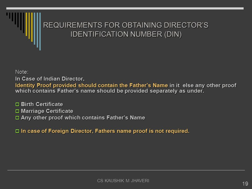 CS KAUSHIK M JHAVERI 19 Note: In Case of Indian Director, Identity Proof provided should contain the Fathers Name in it else any other proof which con