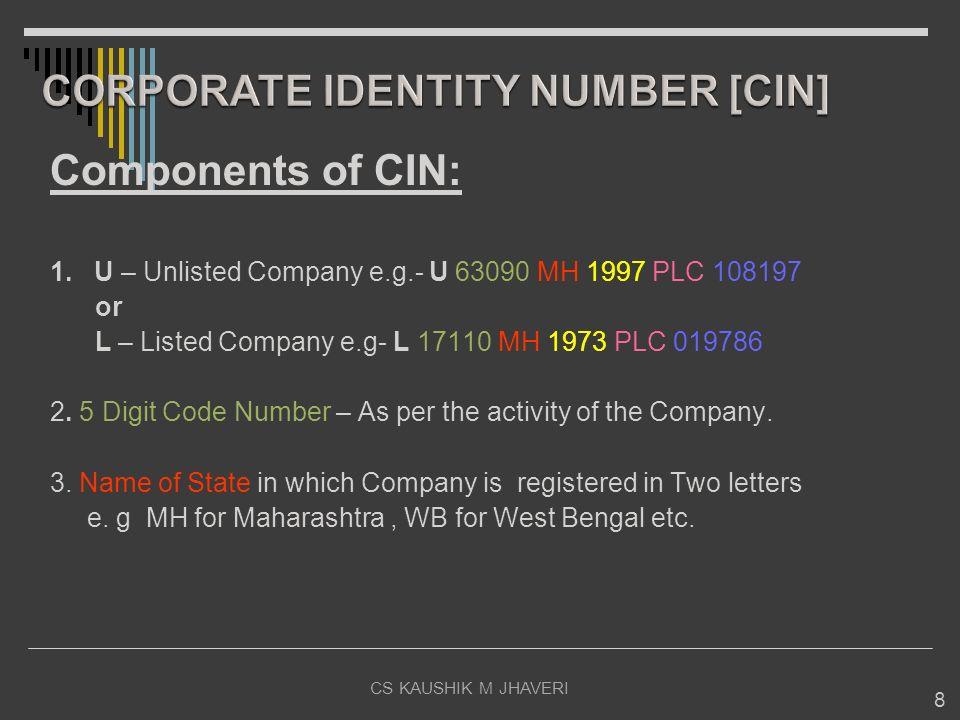 8 Components of CIN: 1. U – Unlisted Company e.g.- U 63090 MH 1997 PLC 108197 or L – Listed Company e.g- L 17110 MH 1973 PLC 019786 2. 5 Digit Code Nu