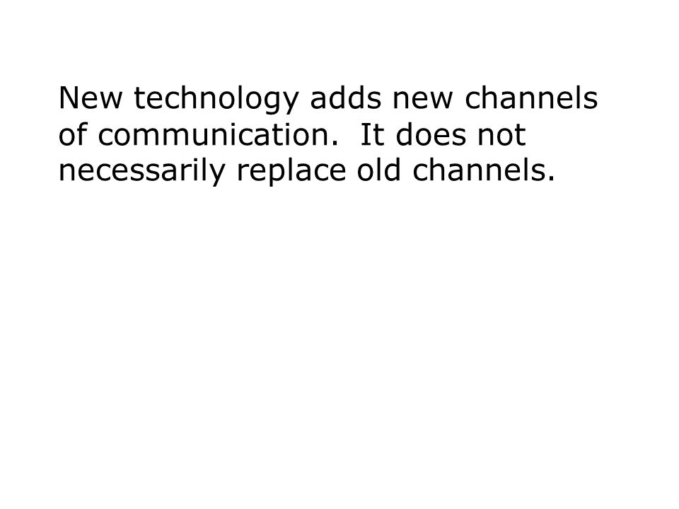 New technology adds new channels of communication. It does not necessarily replace old channels.