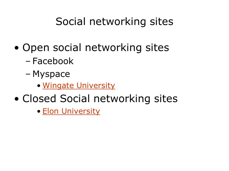 Social networking sites Open social networking sites –Facebook –Myspace Wingate University Closed Social networking sites Elon University