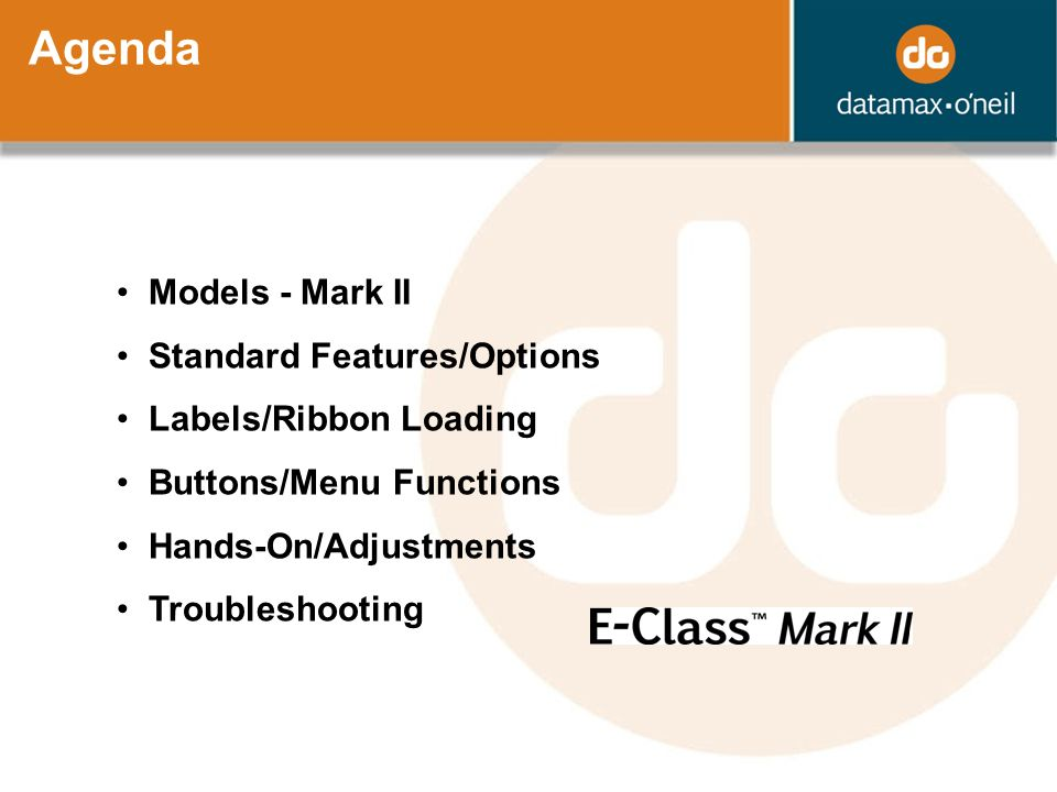 Agenda Models - Mark II Standard Features/Options Labels/Ribbon Loading Buttons/Menu Functions Hands-On/Adjustments Troubleshooting