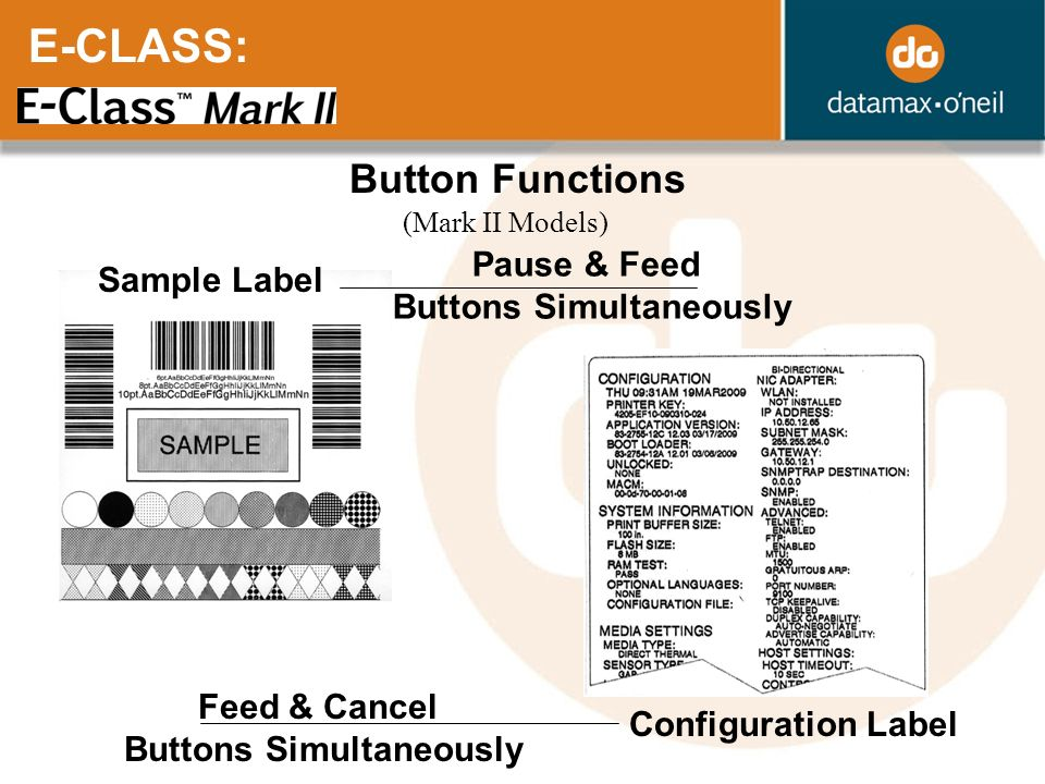 E-CLASS: Button Functions (Mark II Models) Configuration Label Feed & Cancel Buttons Simultaneously Sample Label Pause & Feed Buttons Simultaneously