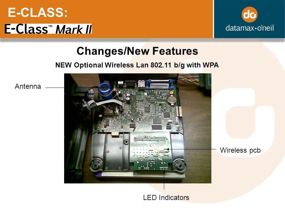 E-CLASS: Changes/New Features NEW Optional Wireless Lan 802.11 b/g with WPA Antenna Wireless pcb LED Indicators