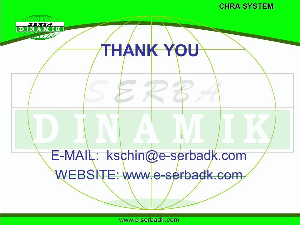 www.e-serbadk.com THANK YOU E-MAIL: kschin@e-serbadk.com WEBSITE: www.e-serbadk.com CHRA SYSTEM