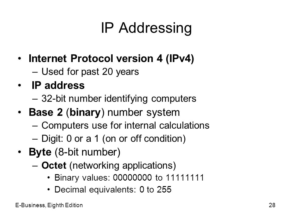 E-Business, Eighth Edition28 IP Addressing Internet Protocol version 4 (IPv4) –Used for past 20 years IP address –32-bit number identifying computers