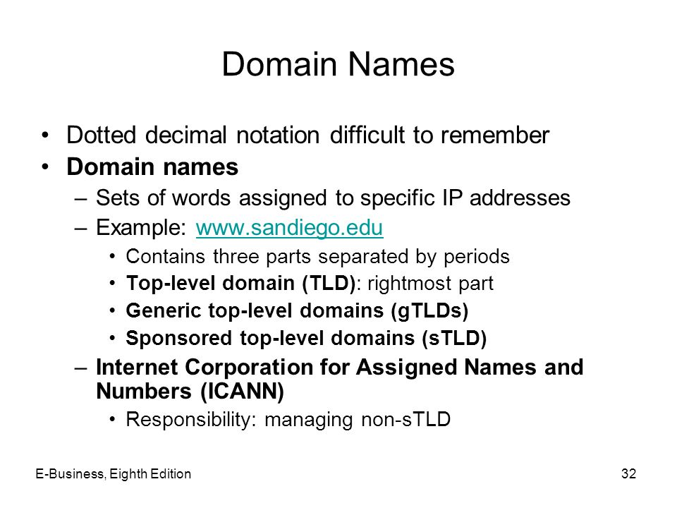 E-Business, Eighth Edition32 Domain Names Dotted decimal notation difficult to remember Domain names –Sets of words assigned to specific IP addresses