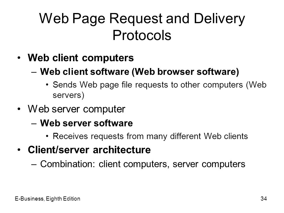 E-Business, Eighth Edition34 Web Page Request and Delivery Protocols Web client computers –Web client software (Web browser software) Sends Web page f