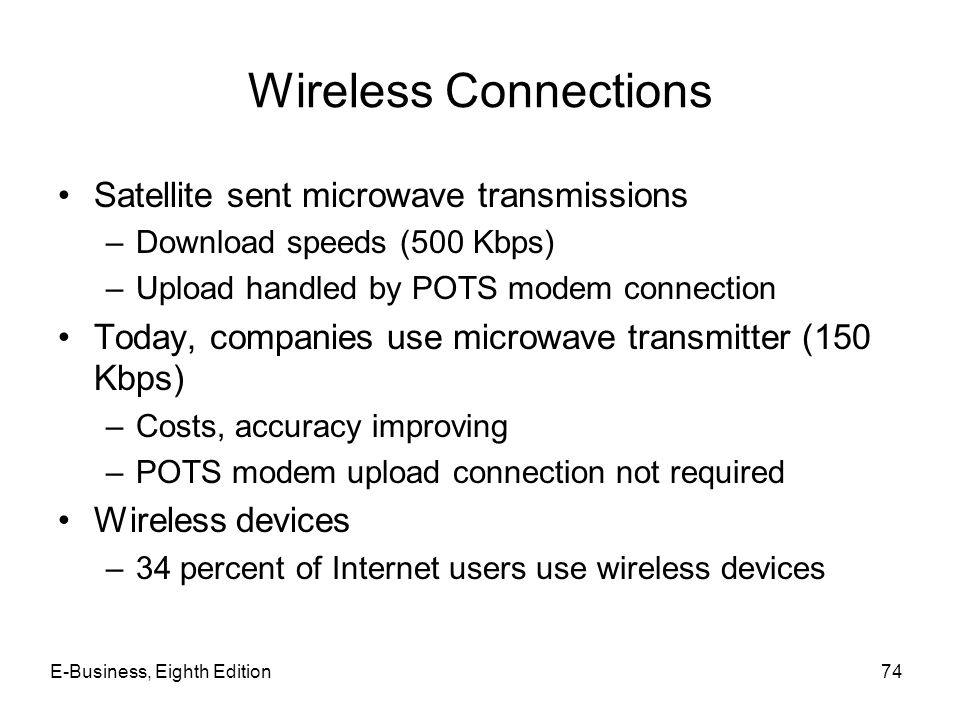 E-Business, Eighth Edition74 Wireless Connections Satellite sent microwave transmissions –Download speeds (500 Kbps) –Upload handled by POTS modem con