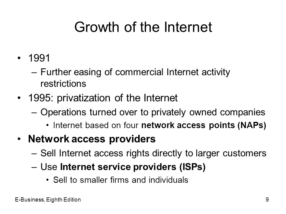 E-Business, Eighth Edition9 Growth of the Internet 1991 –Further easing of commercial Internet activity restrictions 1995: privatization of the Intern