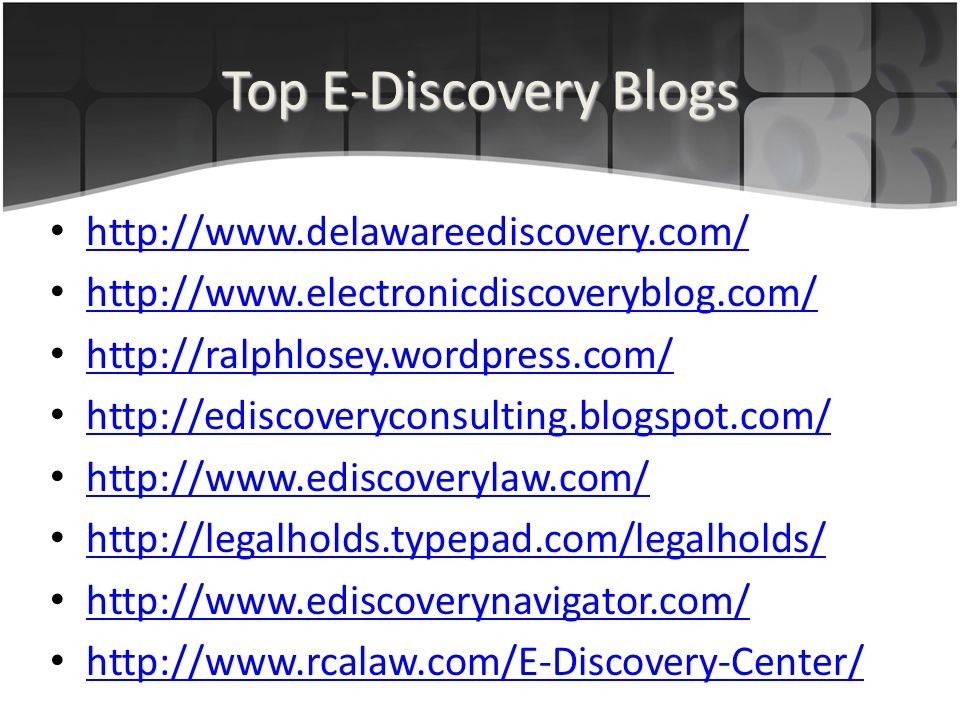 Top E-Discovery Blogs
