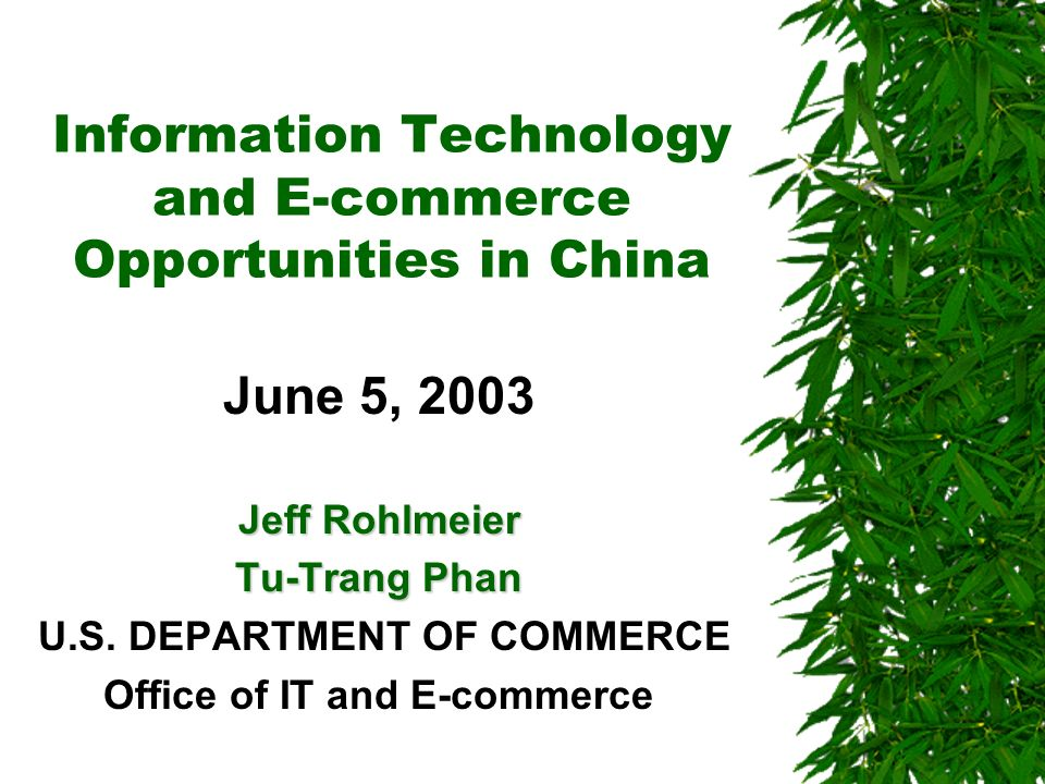 Electronic Commerce (continued) However, several factors have conspired to hamper growth of the B2C market in China: –security concerns –inconvenience of payment –late delivery –unreliability of the merchant Nevertheless, an increasing number of Chinese consumers appear to recognize the benefits of e- commerce: reduced cost, efficiency and the enjoyment and curiosity of shopping online.