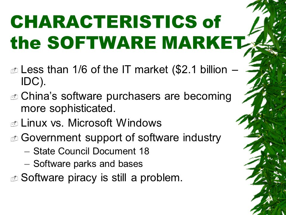 CHARACTERISTICS of the SOFTWARE MARKET Less than 1/6 of the IT market ($2.1 billion – IDC). Chinas software purchasers are becoming more sophisticated