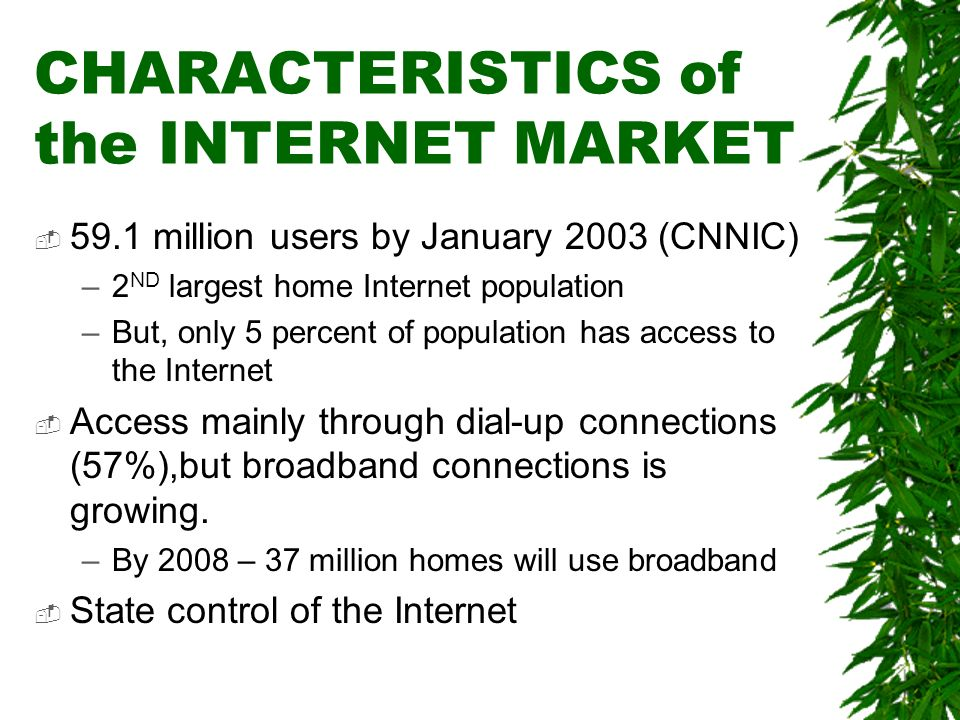 CHARACTERISTICS of the INTERNET MARKET 59.1 million users by January 2003 (CNNIC) –2 ND largest home Internet population –But, only 5 percent of popul